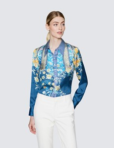 Ladies Navy and Yellow Floral Print Satin Blouse