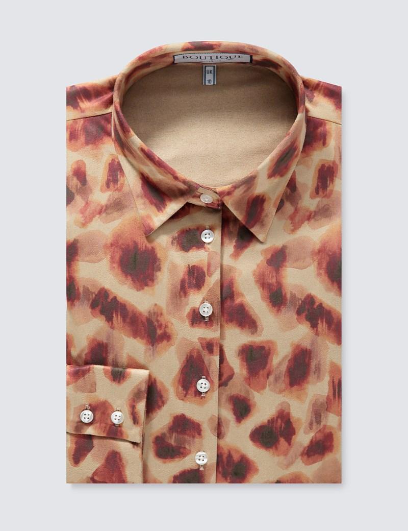 Women's Boutique Beige & Orange Suedette Cheetah Print Semi-Fitted Shirt - Single Cuff