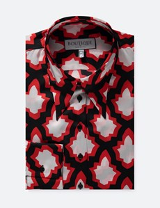 Women's Boutique Black & Red Geometric Print Satin Semi-Fitted Shirt - Single Cuff
