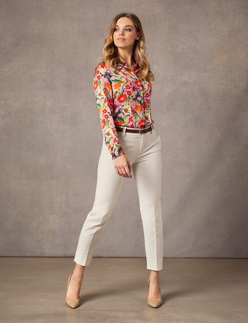 Women's Boutique Pink Stripe Floral Luxury Matt Satin Blouse  - Single Cuff