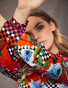 Women's Boutique Black & Orange Checkerboard Luxury Matt Satin Blouse  - Single Cuff