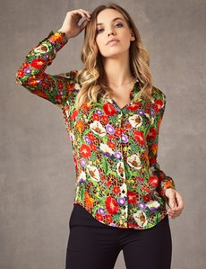 Women's Boutique Brown & Black Leopard Floral Luxury Matt Satin Blouse  - Single Cuff