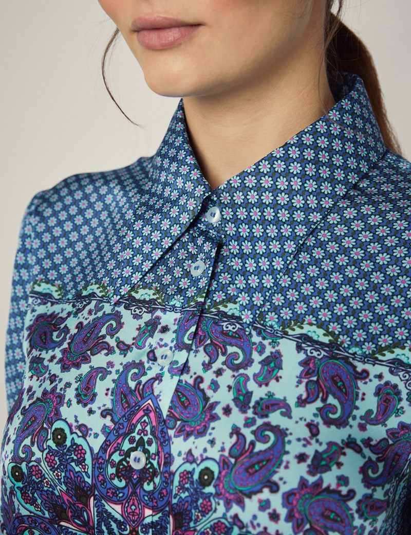 Women's Boutique Blue & Green Paisley Floral Luxury Matt Satin Blouse - Single Cuff
