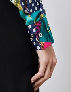 Women's Boutique Royal Blue & White Patchwork Print Luxury Matt Satin Blouse  - Single Cuff