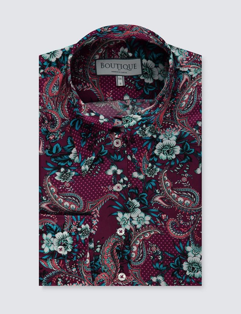 Women's Boutique Purple & White Floral Luxury Matt Satin Blouse  - Single Cuff