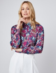 Women's Boutique Purple & White Floral Luxury Matt Satin Blouse  - Single Cuff