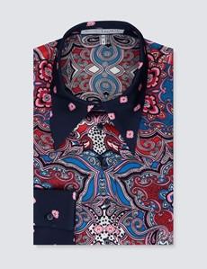 Women's Boutique Navy & Pink Paisley Luxury Matt Satin Blouse  - Single Cuff