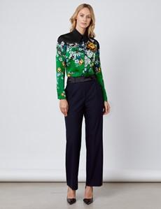 Women's Boutique Green & Black Floral Luxury Matt Satin Blouse  - Single Cuff