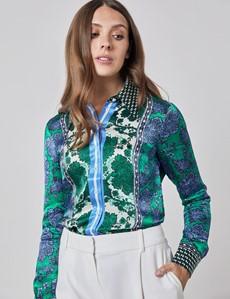 Women's Boutique Blue & Green Oriental Floral Luxury Satin Blouse  - Single Cuff