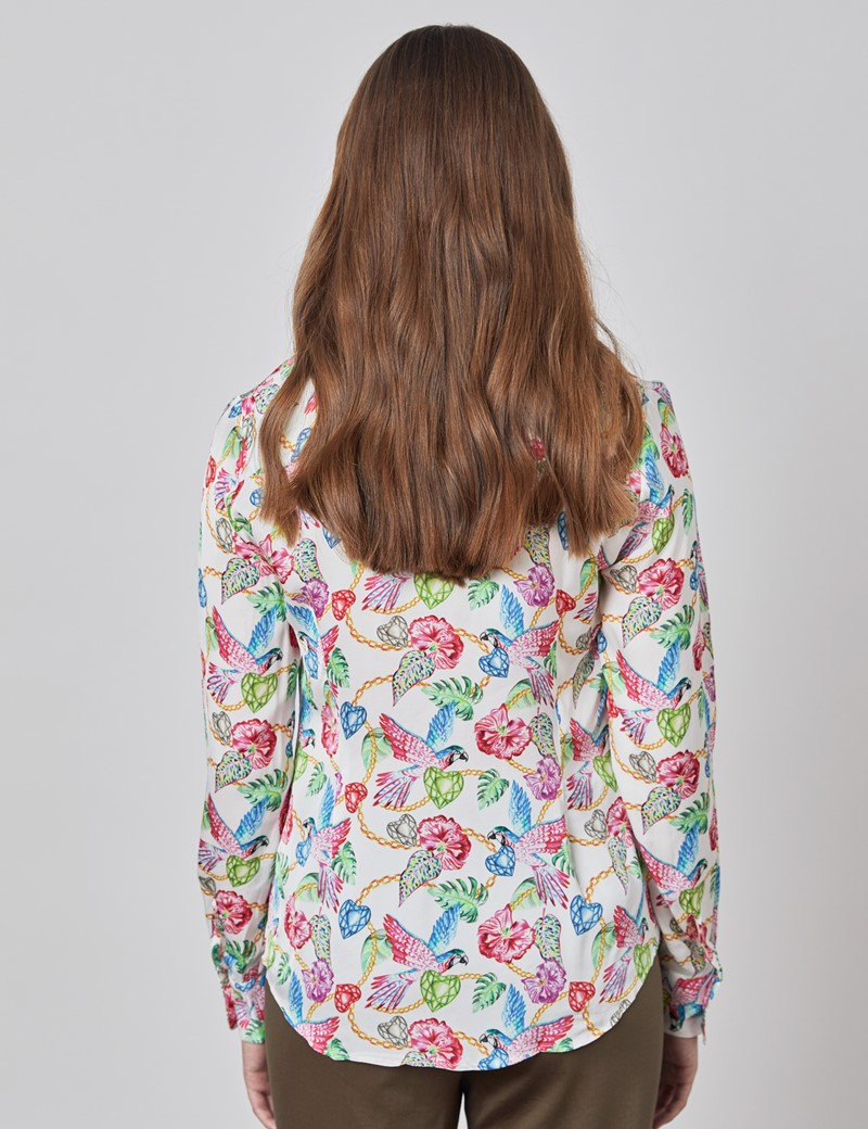Women's Boutique White & Pink Parrot and Hearts Print Luxury Satin Blouse with Vintage Collar