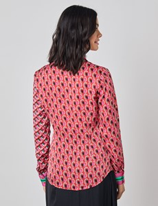 Women's Boutique Pink & Green Hearts Print Luxury Satin Blouse with Vintage Collar