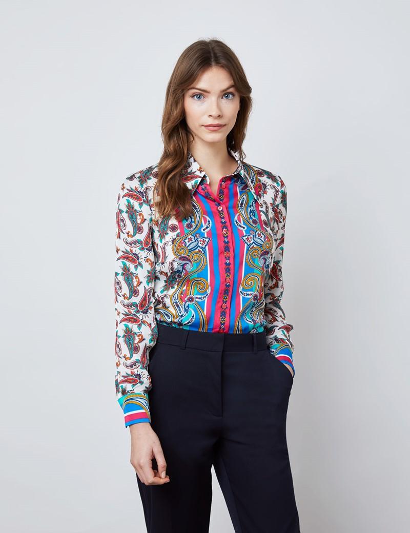 Women's Blue & Orange Paisley Placement Print Boutique Satin Blouse with Vintage Collar