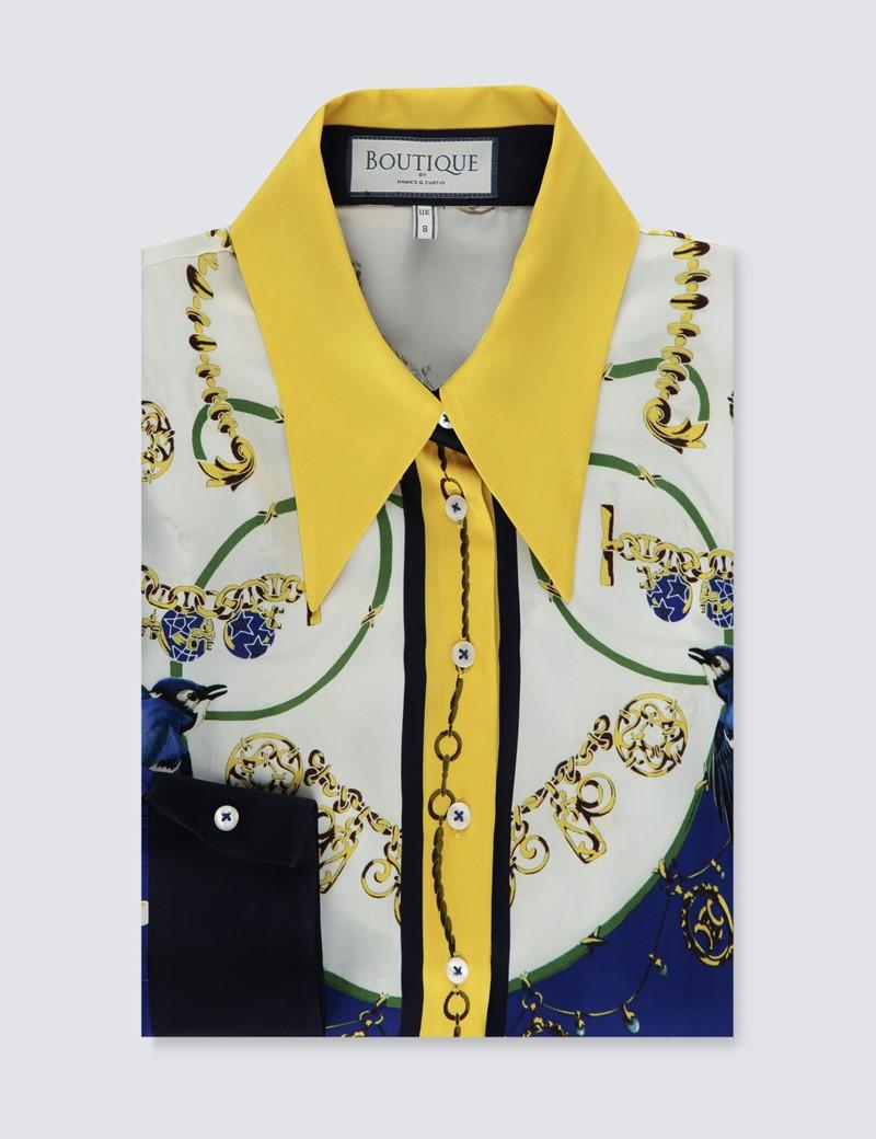Boutique Bluse – Regular Fit – Satin – weiß blau Ketten-Print