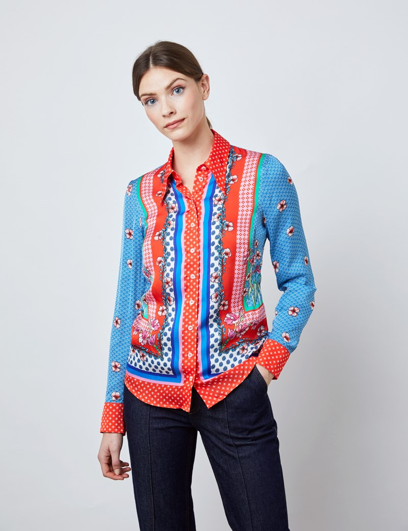 Women's Red & Blue Floral Geometric Print Boutique Satin Blouse with Vintage Collar