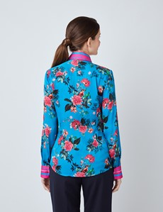 Women's Turquoise & Fuchsia Floral  Print Boutique Satin Blouse with Vintage Collar