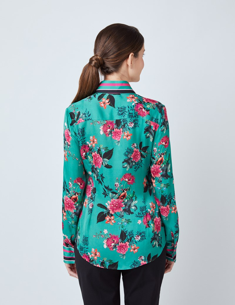 Women's Green & Pink Floral Print Boutique Satin Blouse with Vintage Collar