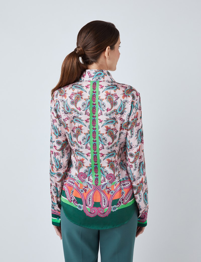 Women's Pink & Green Paisley Print Boutique Satin Blouse with Vintage Collar