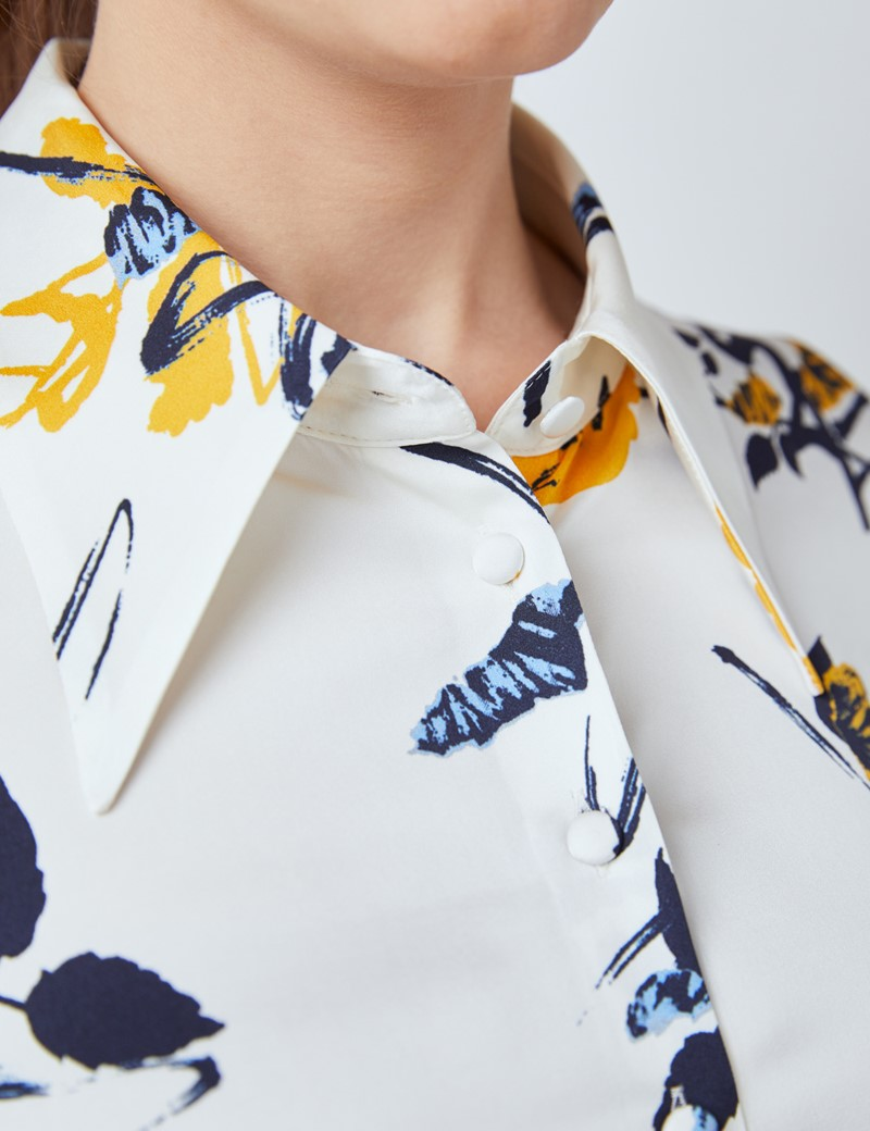 Women's Cream & Yellow Paintbrush Roses Print Boutique Satin Blouse with Vintage Collar