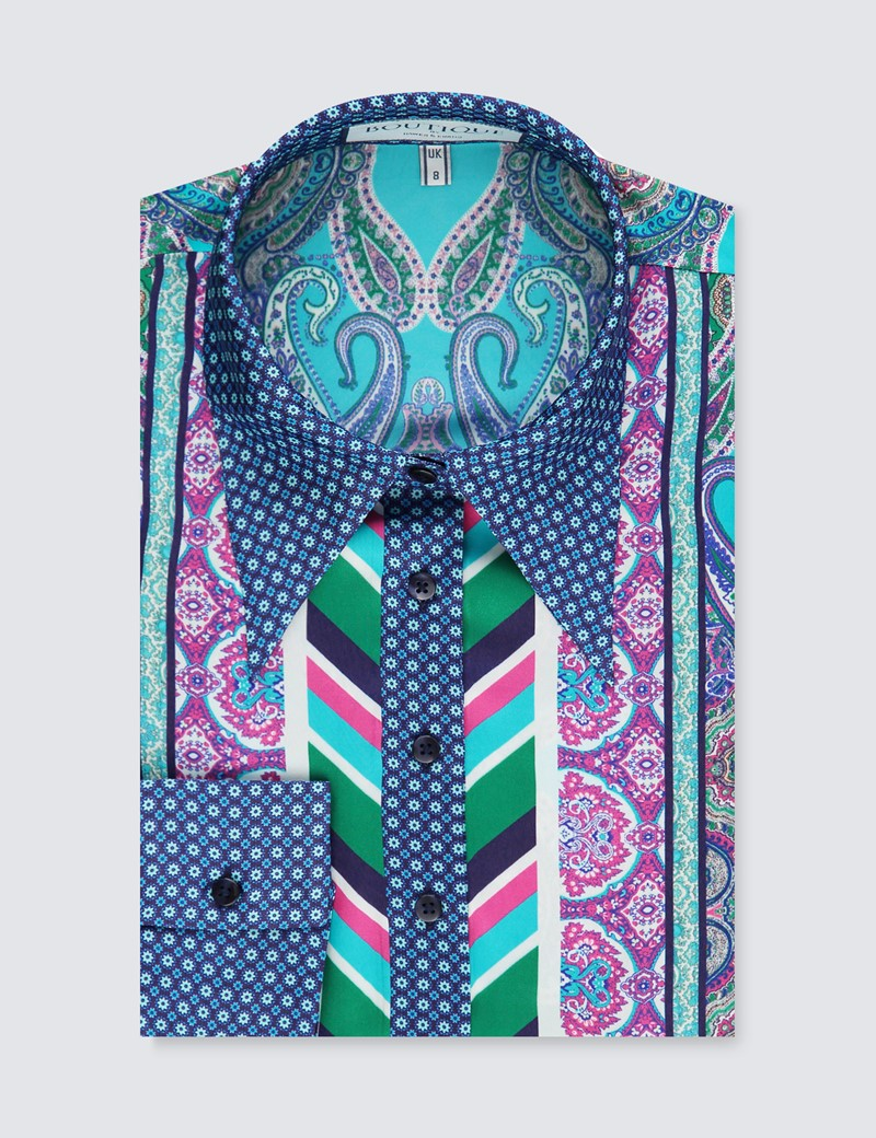 Women's Blue & Green Geometric Paisley Print Boutique Satin Blouse