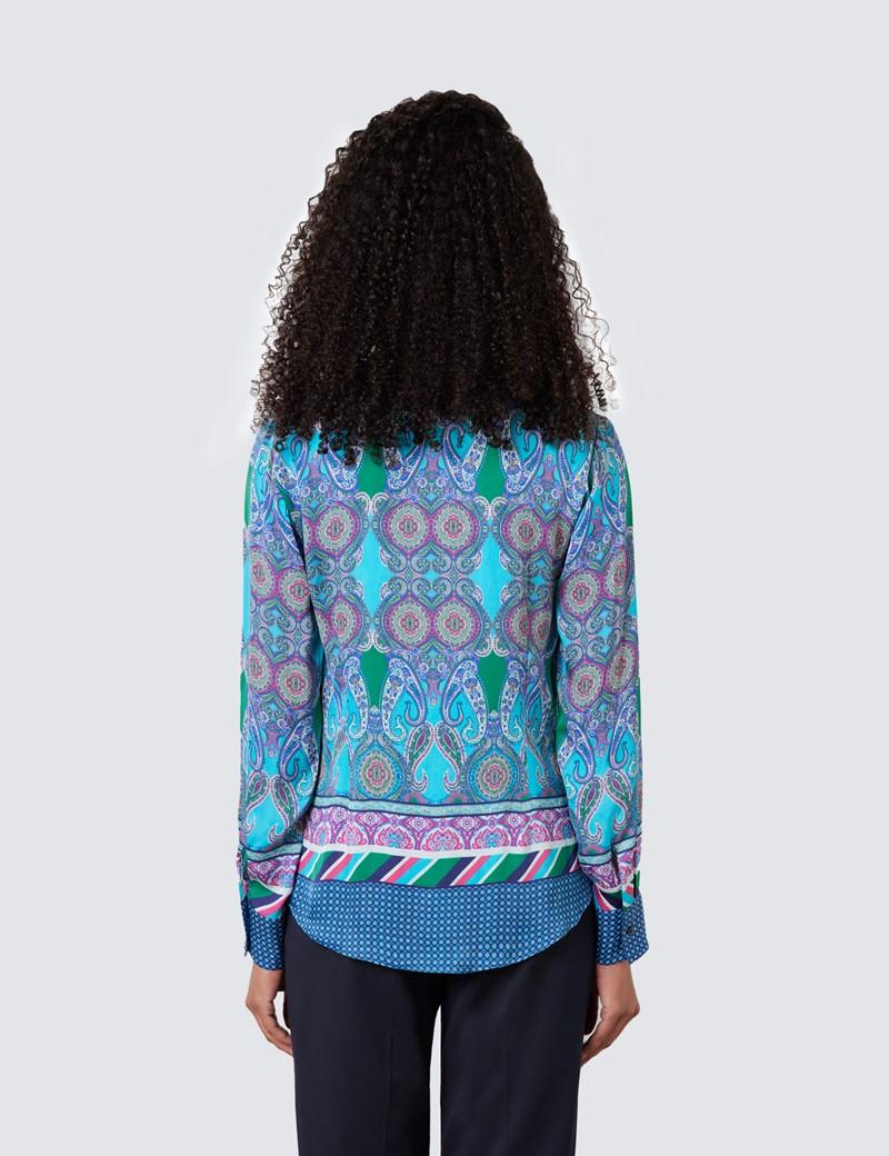 Boutique Bluse – Regular Fit – Satin – blau grün Paisley Patchwork