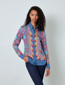 Boutique Bluse – Regular Fit – Satin – blau pink Paisley Muster-Mix