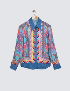 Women's Navy & Pink Geometric Paisley Print Boutique Satin Blouse