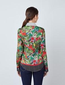 Women's Green & White Tropical Floral Print Boutique Satin Blouse