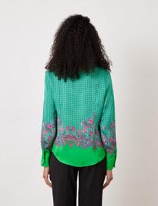 Women's Green & Pink Geometric Paisley Print Boutique Satin Blouse