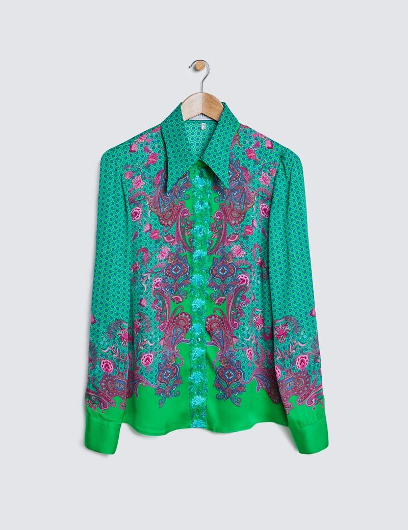 Boutique Bluse – Regular Fit – Satin – grün pink Paisley Muster-Mix