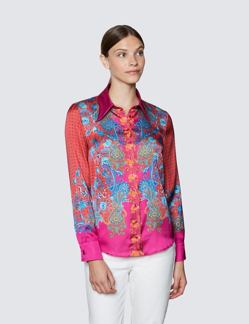 Women's Red & Fuchsia Geometric Paisley Print Boutique Satin Blouse