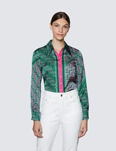 Women's Green & Pink Geometric Placement Print Boutique Satin Blouse