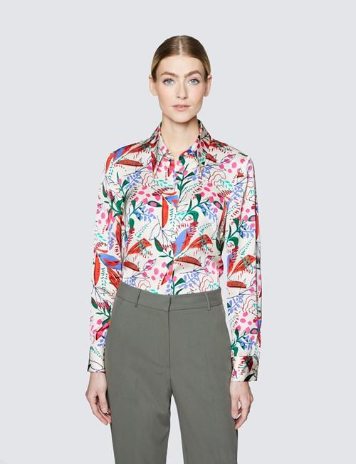 Women's Cream & Green Floral Print Boutique Satin Blouse