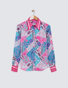 Women's Pink & Green Patchwork Paisley Print Boutique Satin Blouse