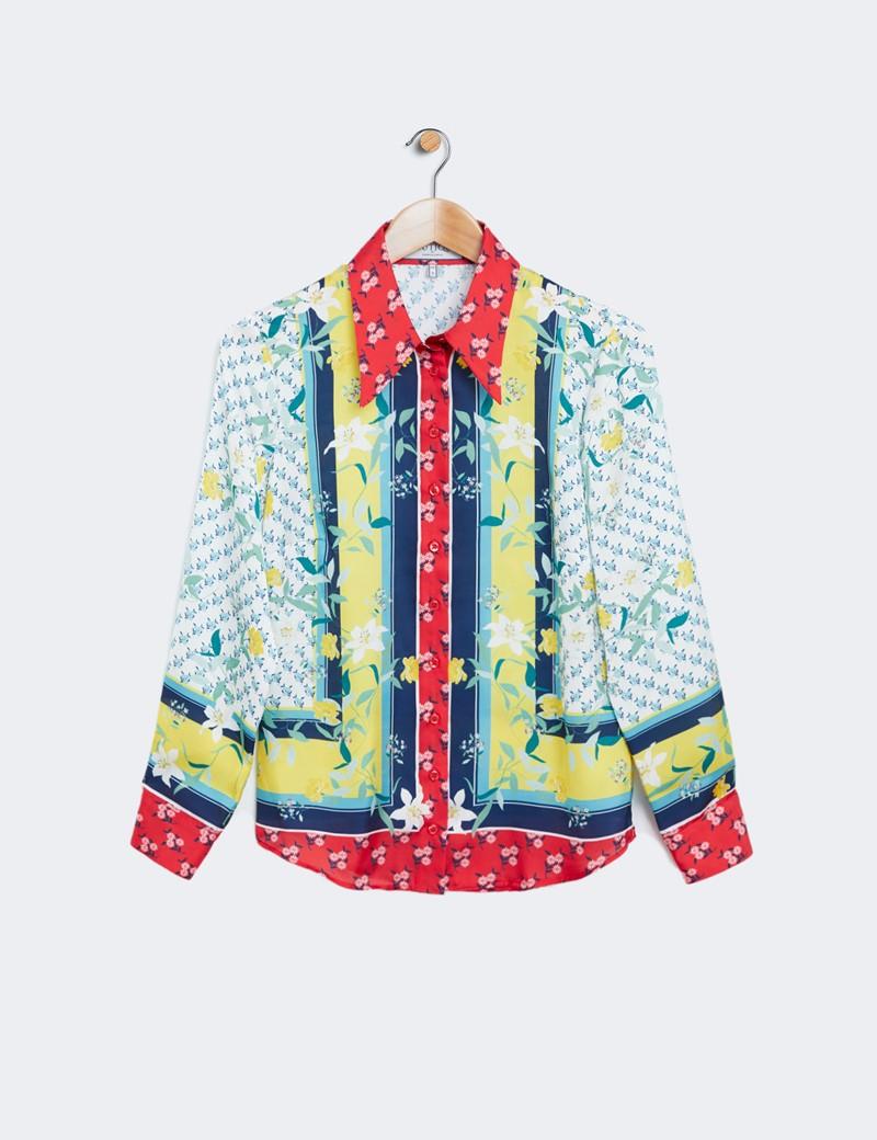 Women's Yellow & Red Oriental Floral Print Boutique Satin Blouse