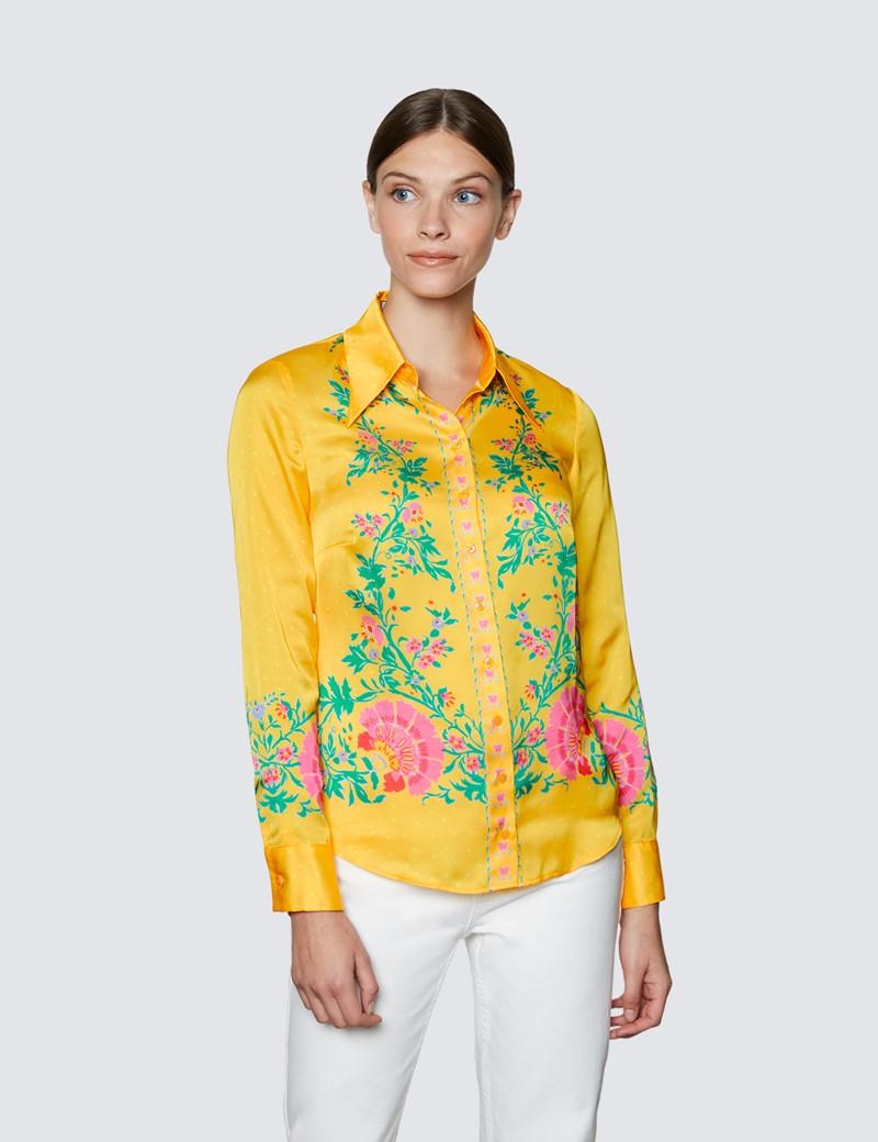 Women's Yellow & Pink Floral Print Boutique Satin Blouse