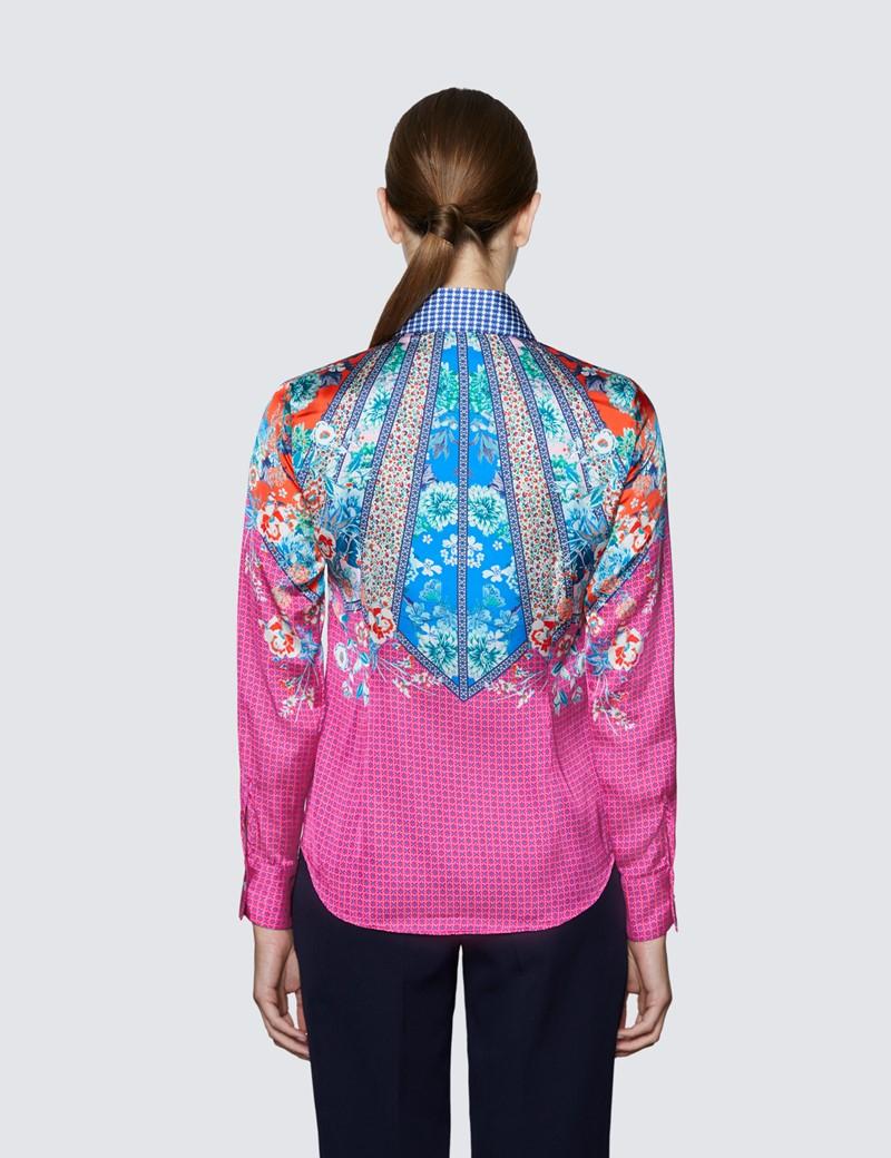 Women's Pink & Orange Floral Print Boutique Satin Blouse