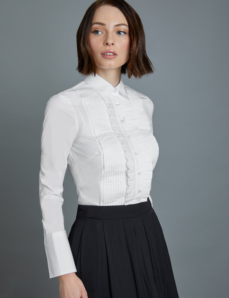 Women's Boutique White Semi Fitted Boutique Shirt with Frill Pleat Placket