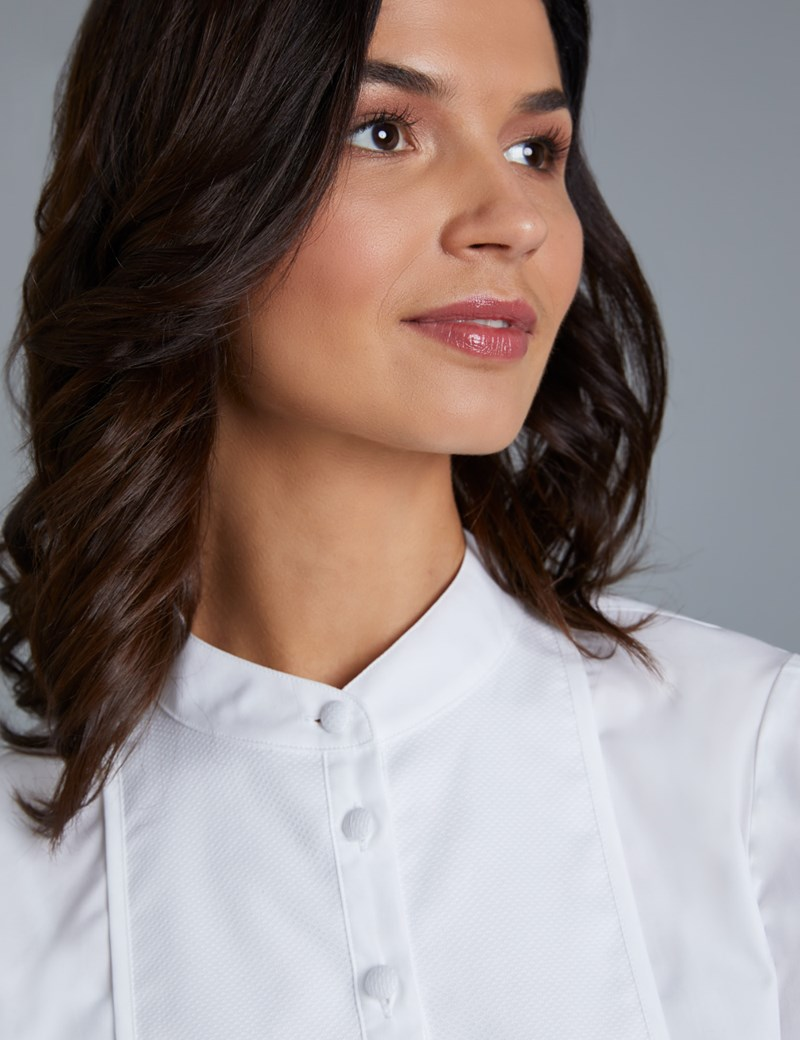 Women's Boutique Semi Fitted White Shirt with Bib Detail