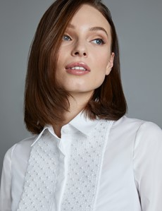 Women's Boutique White Semi Fitted Boutique Shirt with Pearl Embellishments