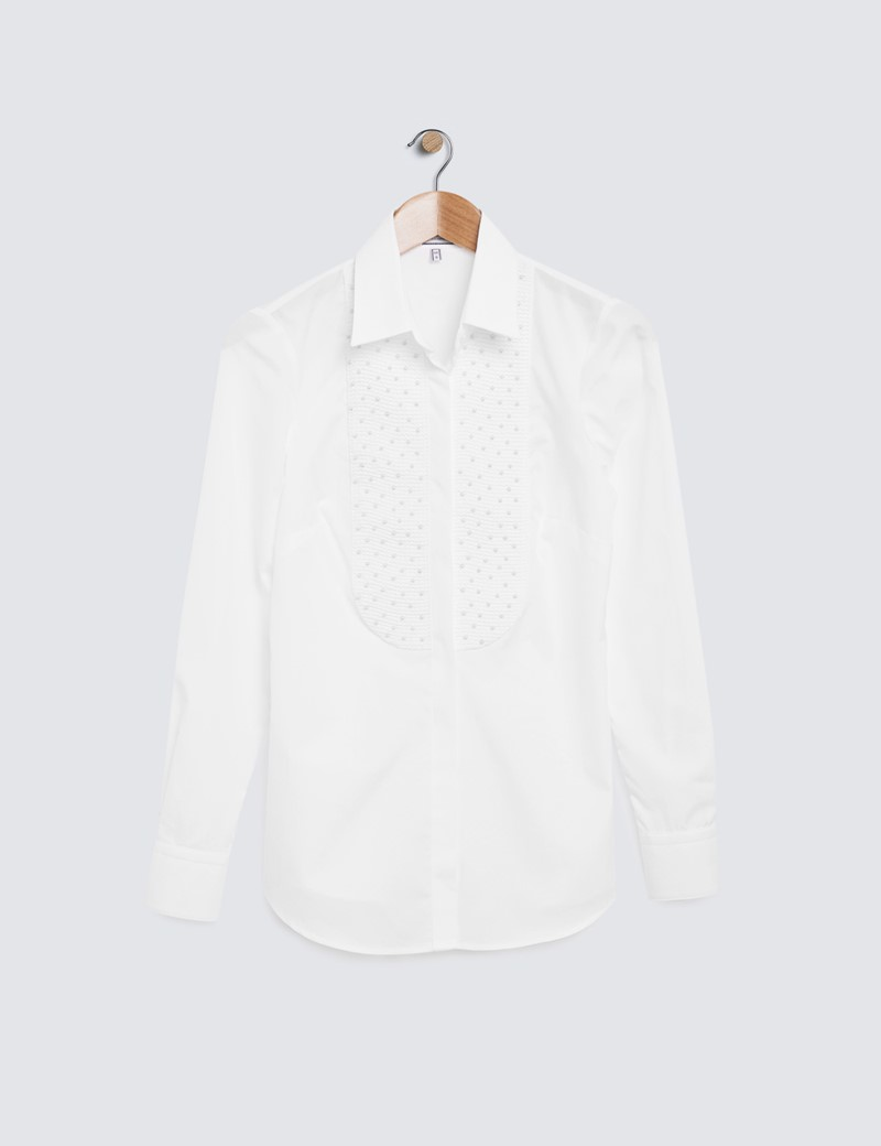 Women's White Semi Fitted Boutique Shirt with Pearl Embellishments