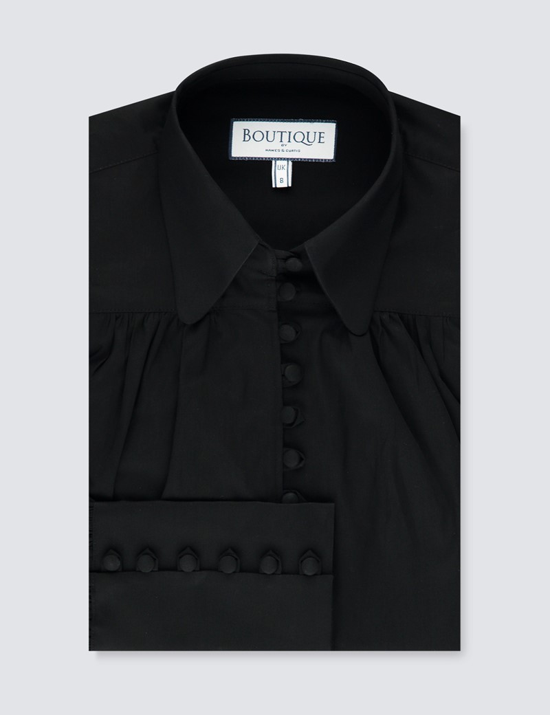 Women's Boutique Black Semi Fitted Button Loop Shirt