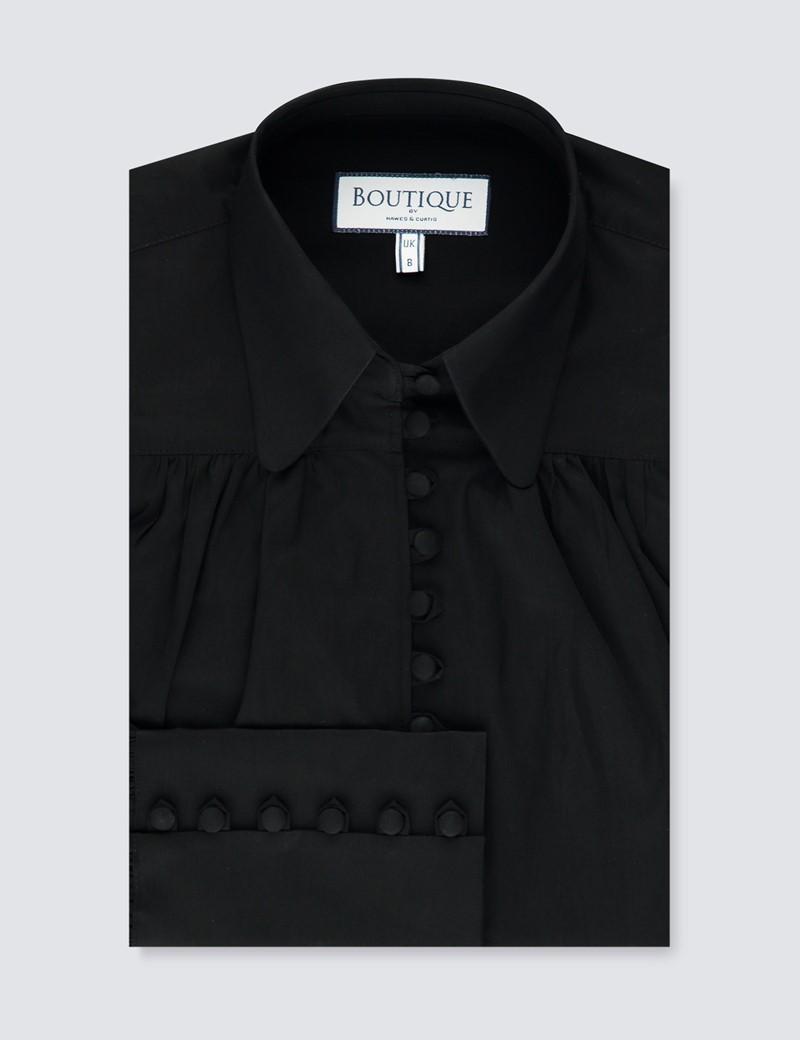 Boutique Bluse – Regular Fit – Popeline – viktorianische Loop Buttons – schwarz