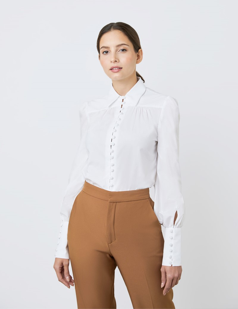 Women's Boutique White Semi Fitted Button Loop Shirt