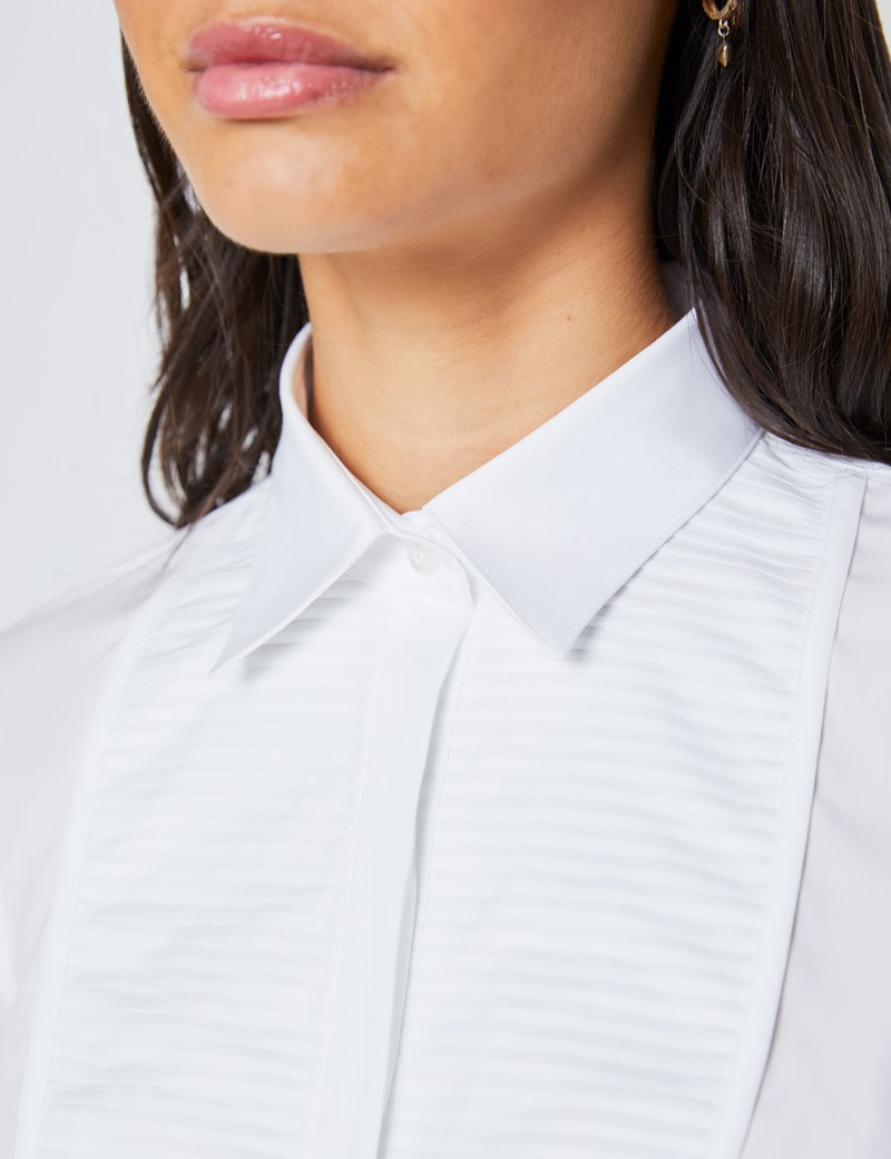 Women's Boutique White Semi Fitted Shirt with Pleat Panel Detail - Single Cuff