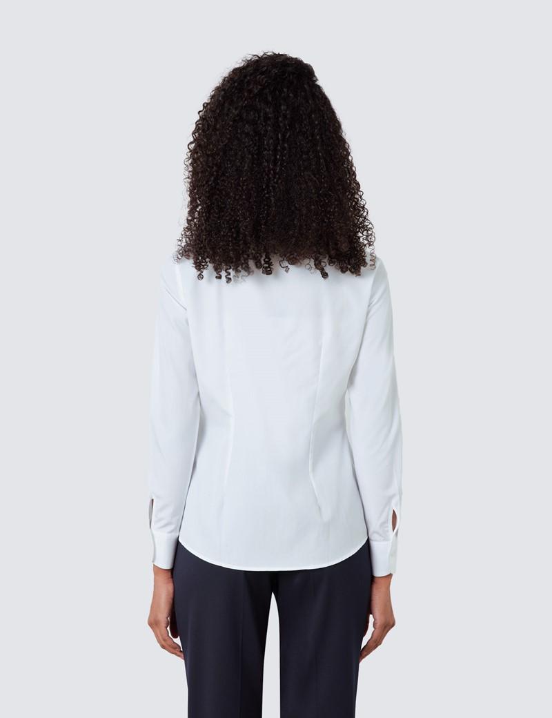 Boutique Smokingbluse – Regular Fit – Baumwolle – Weiß