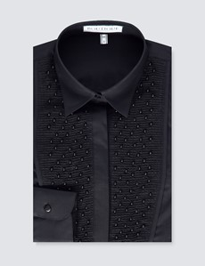 Women's Black Semi Fitted Boutique Shirt with Pearl Embellishments - Single Cuff