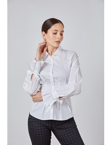 Women's Boutique White Semi Fitted Shirt with Tie Cuffs