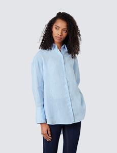 Women's Light Blue Linen Boyfriend Shirt