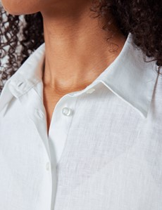 Women's White Linen Boyfriend Shirt