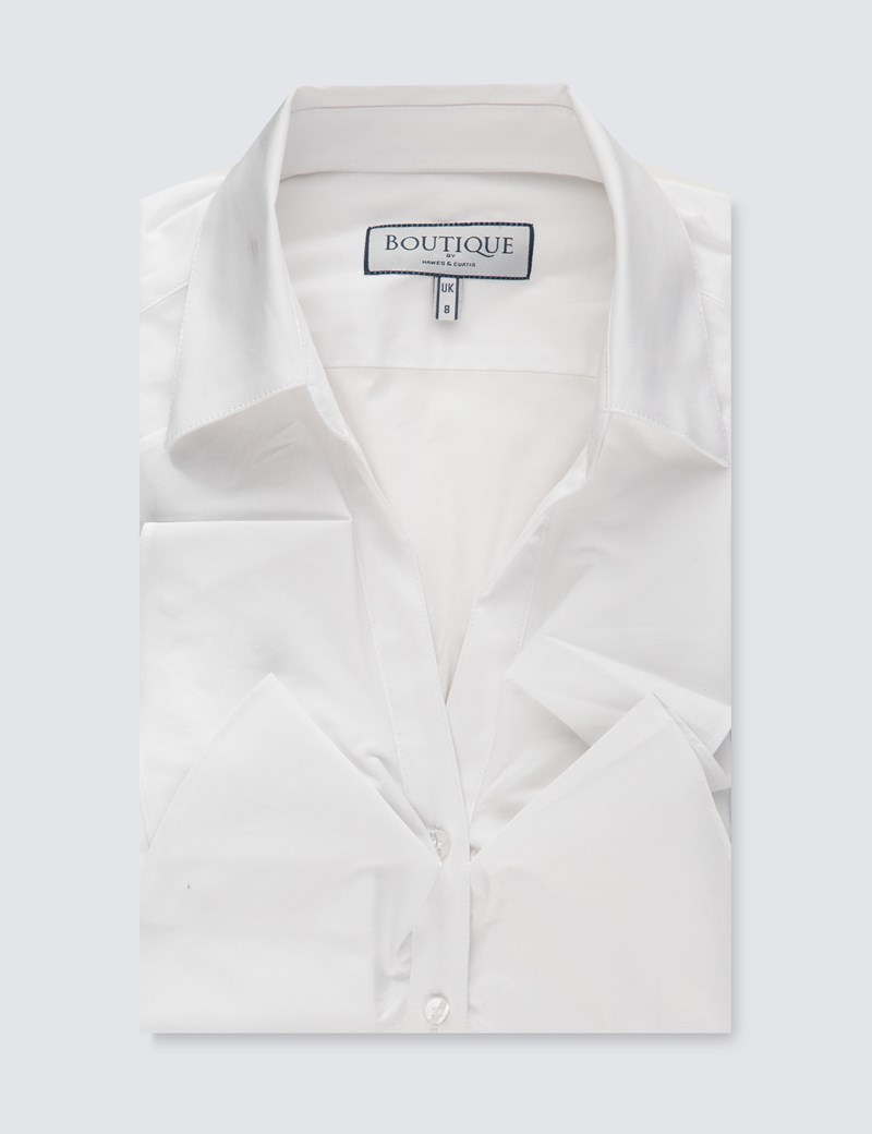 1cd5722ed8 Women's Boutique White Fitted Shirt with Open Neck Frill Detail - Single  Cuff
